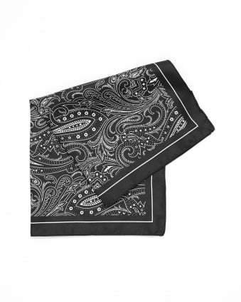 Mens Pocket Square Charcoal Grey Paisley Print Silk Scarf