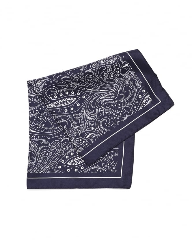 Hugo Boss Black Mens Pocket Square Navy Blue Paisley Print Silk Scarf