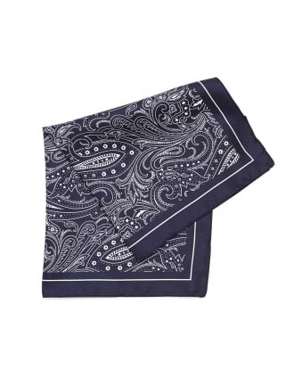 Mens Pocket Square Navy Blue Paisley Print Silk Scarf