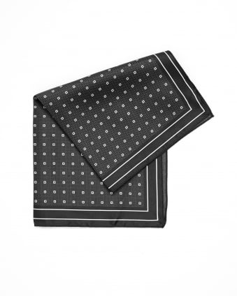 Mens Pocket Square Polka-Dot Silk Black Scarf