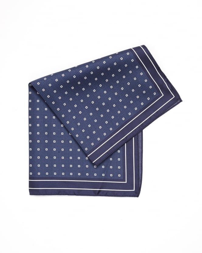 Hugo Boss Black Mens Pocket Square Polka-Dot Silk Navy Blue Scarf