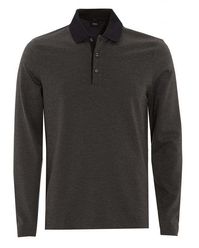 BOSS Business Mens Polo, Paschal 01 Slim Fit Black Long Sleeved Polo Shirt