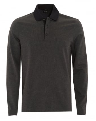 Mens Polo, Paschal 01 Slim Fit Black Long Sleeved Polo Shirt