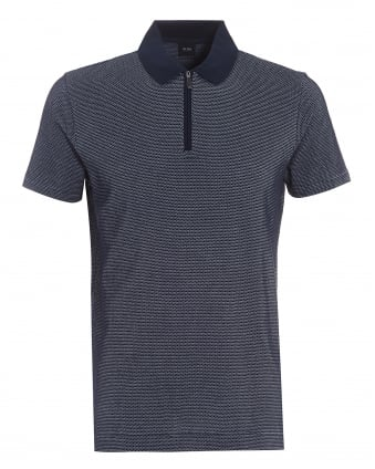 Mens Polston 04 Polo, Slim-Fit Zip Navy Polo Shirt