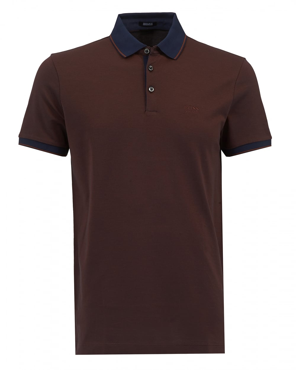 Hugo boss black mens prout 10 polo brown regular fit logo for Men s regular fit shirts