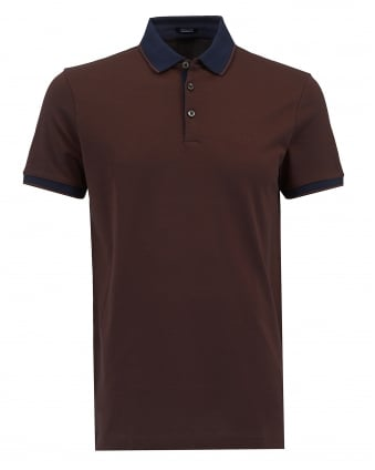 Mens Prout 10 Polo, Brown Regular Fit Logo Polo Shirt