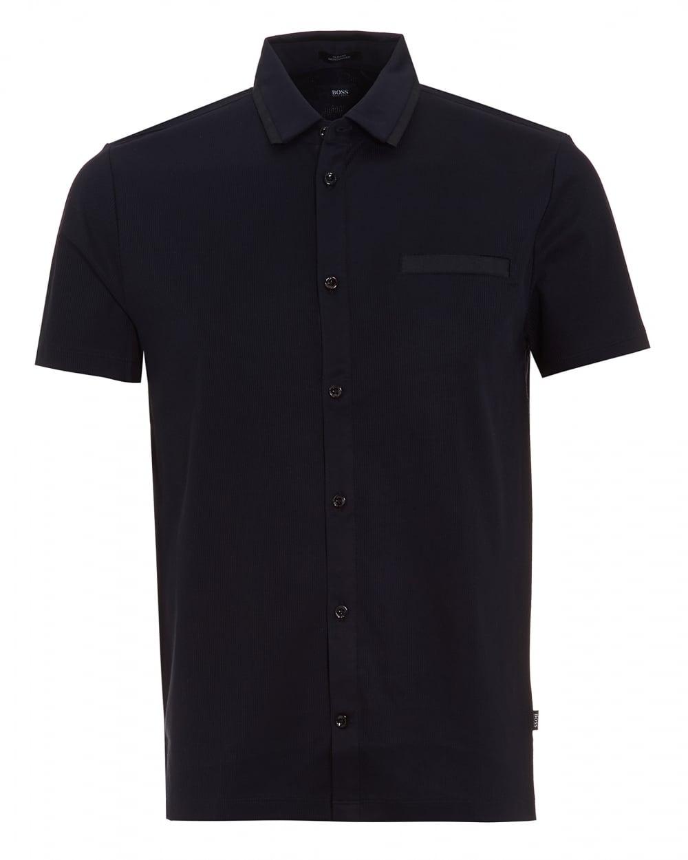 Mens Pruno 02 Polo Shirt, Ribbed Slim Button Through Navy Polo