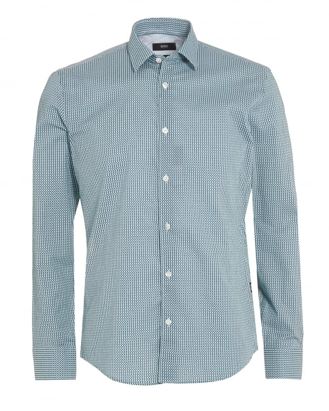 BOSS Business Mens Reid 27 Shirt, Mint Green Honeycomb Slim Shirt