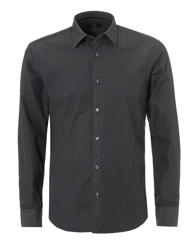BOSS Business Mens Reid_F Denim Look Slim Fit Grey Shirt