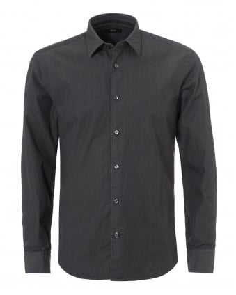 Mens Reid_F Denim Look Slim Fit Grey Shirt