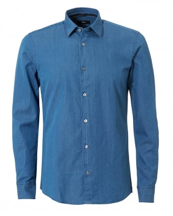 Mens Reid_F Denim Look Slim Fit Indigo Shirt