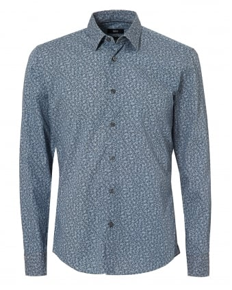 Mens Reid Floral Shirt, Navy Blue & Micro Grey Print Shirt