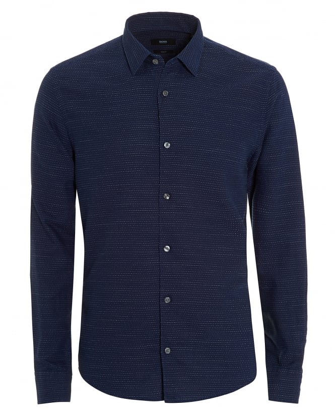 BOSS Business Mens Reid Shirt, Faded Stripe Navy Blue Shirt