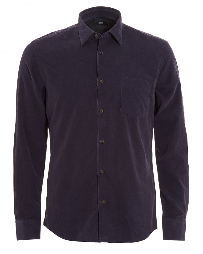 Hugo Boss Black Mens Reid Shirt, Navy Blue Corduroy Slim Fit Shirt