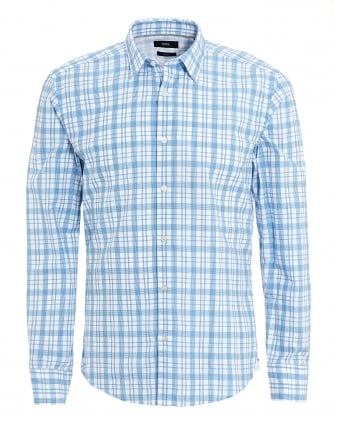 Mens Reid Shirt, Structured Check Slim Fit Sky White Shirt