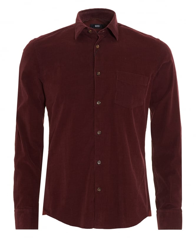 Hugo Boss Black Mens Reid Shirt, Wine Red Corduroy Slim Fit Shirt