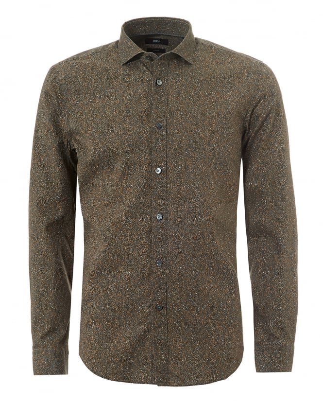 BOSS Business Mens Ridley Dotted Print Brown Slim Fit Shirt