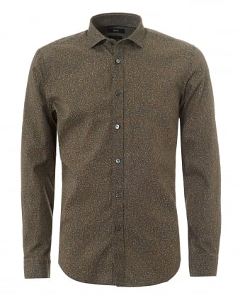 Mens Ridley Dotted Print Brown Slim Fit Shirt