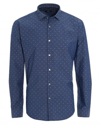 Mens Ridley_F Shirt, Raised Dot Navy Blue Shirt