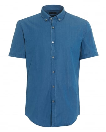 Mens Rik Short Sleeve Blue Chambray Shirt