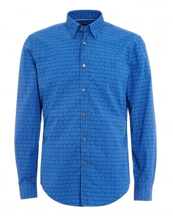 Mens Rodney Shirt, Slim Fit Geo Print Blue Shirt