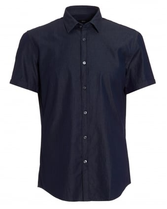 Mens Ronn Denim Look Slim Indigo Shirt
