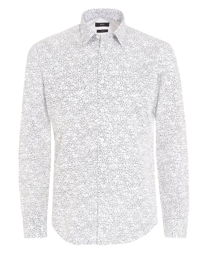 Hugo Boss Black Mens Ronni 5F Geometric Slim Shirt White
