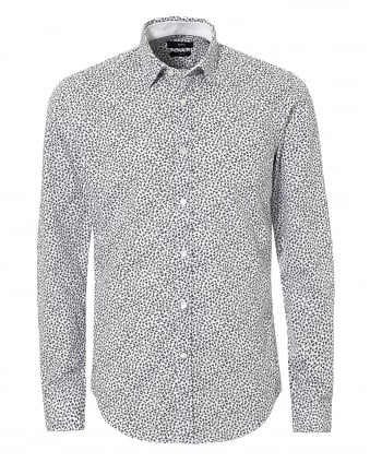 Mens Ronni Print White & Navy Blue Shirt, Micro-Leaf Collar Shirt