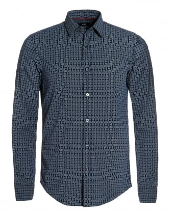 Mens Ronni Shirt, Navy Blue Chainlink Print Slim Fit Shirt