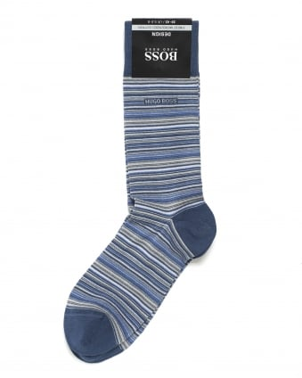 Mens RS Design Micro Stripe Blue Socks