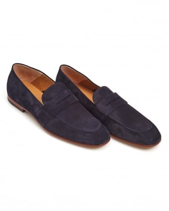 Mens Safari Loafer, Leather Sole Navy Blue Shoe