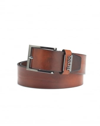 Mens Senol Brown/Black Two-Tone Leather Belt