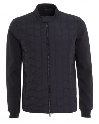 Mens Shepherd Sweat, Quilted Navy Blue Sweatshirt Jacket