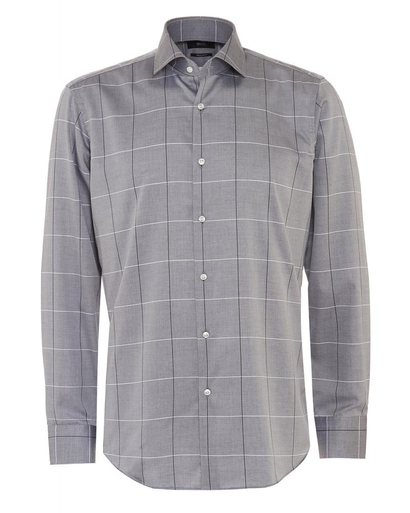 Hugo Boss Mens Shirt Gordon Grey Window Pane Check Shirt
