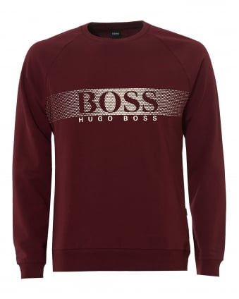 Mens Shirt LSRN Sweatshirt, Micro Dot Burgundy Jumper