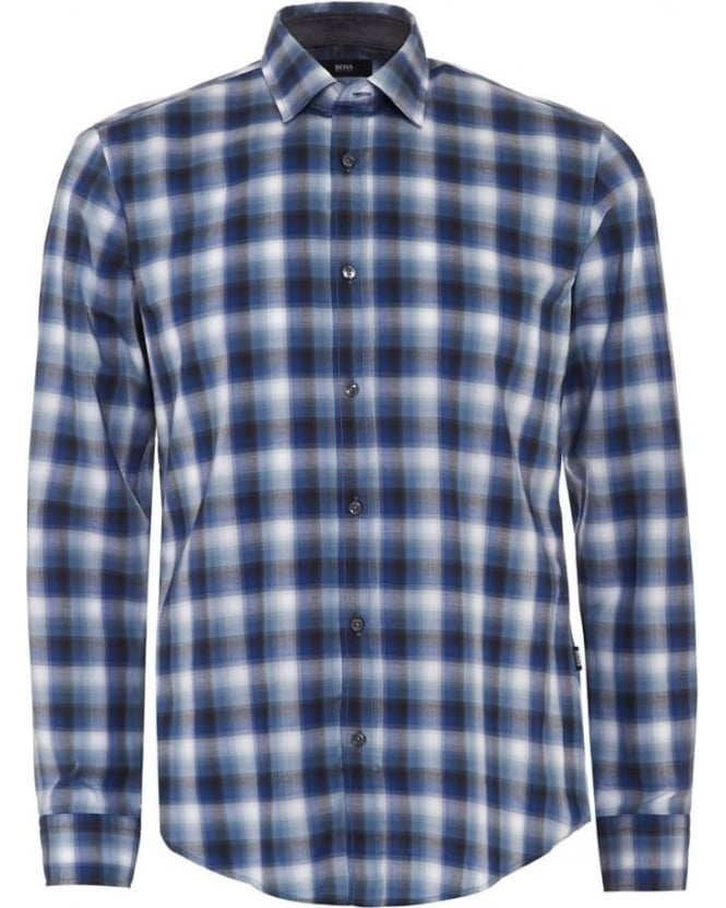 Hugo Boss Black Mens Shirt Ronni 2 Blue Check Slim Fit Shirt