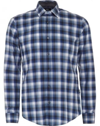 Mens Shirt Ronni 2 Blue Check Slim Fit Shirt