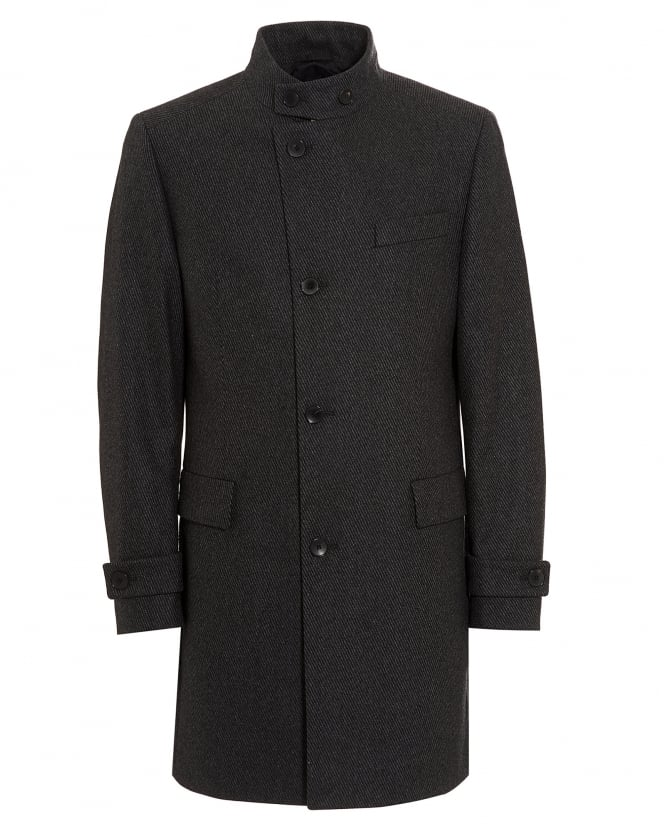 Hugo Boss Black Mens Sintrax1 New-Wool Blend Striped Charcoal Grey Coat