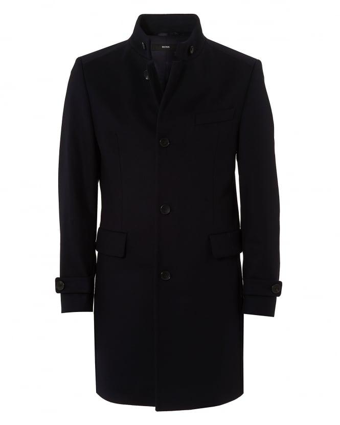 Hugo Boss Black Mens Sintrax2 Nehru Collar Wool Cashmere Navy Blue Coat