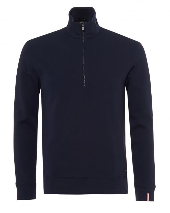 BOSS Business Mens Slegal Jumper, Half Zip Contrast Lining Navy Blue Red Sweat