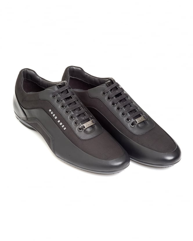 Hugo Boss Black Mens Sneakers, Hbracing_Lowp Carbon Fibre Black Leather Trainers