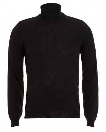 Mens Sweater, Musso-B Slim Fit Black Polo Neck Jumper