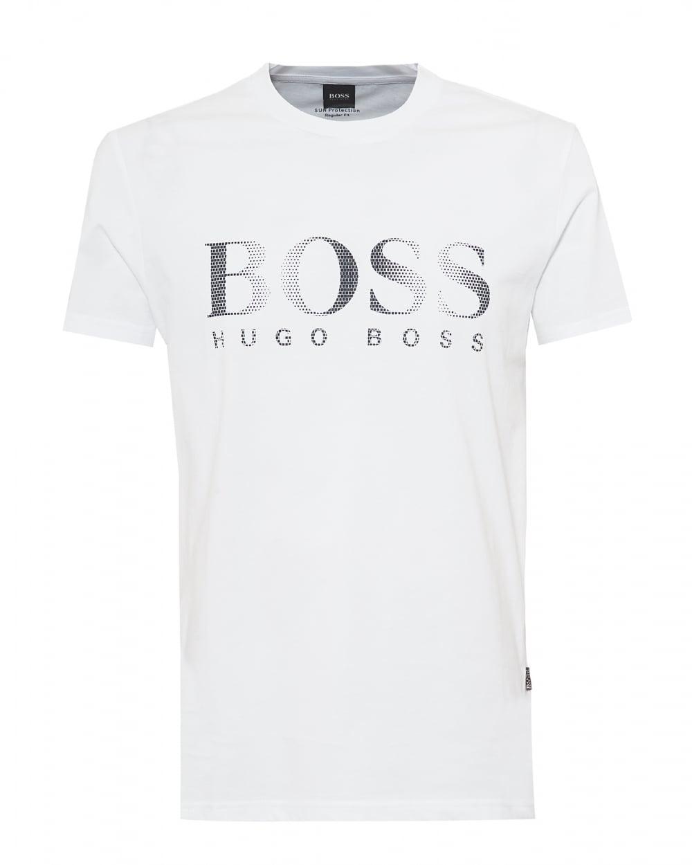 Mens T-Shirt RN UV Protection T-Shirt, Large Logo White Tee