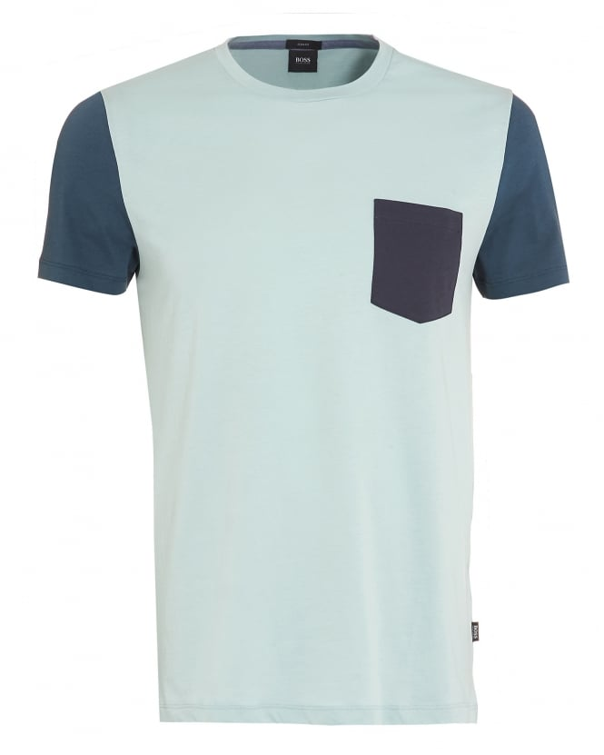 Hugo Boss Black Mens Tessler 17 T-Shirt, Mint Green Contrast Pocket Tee