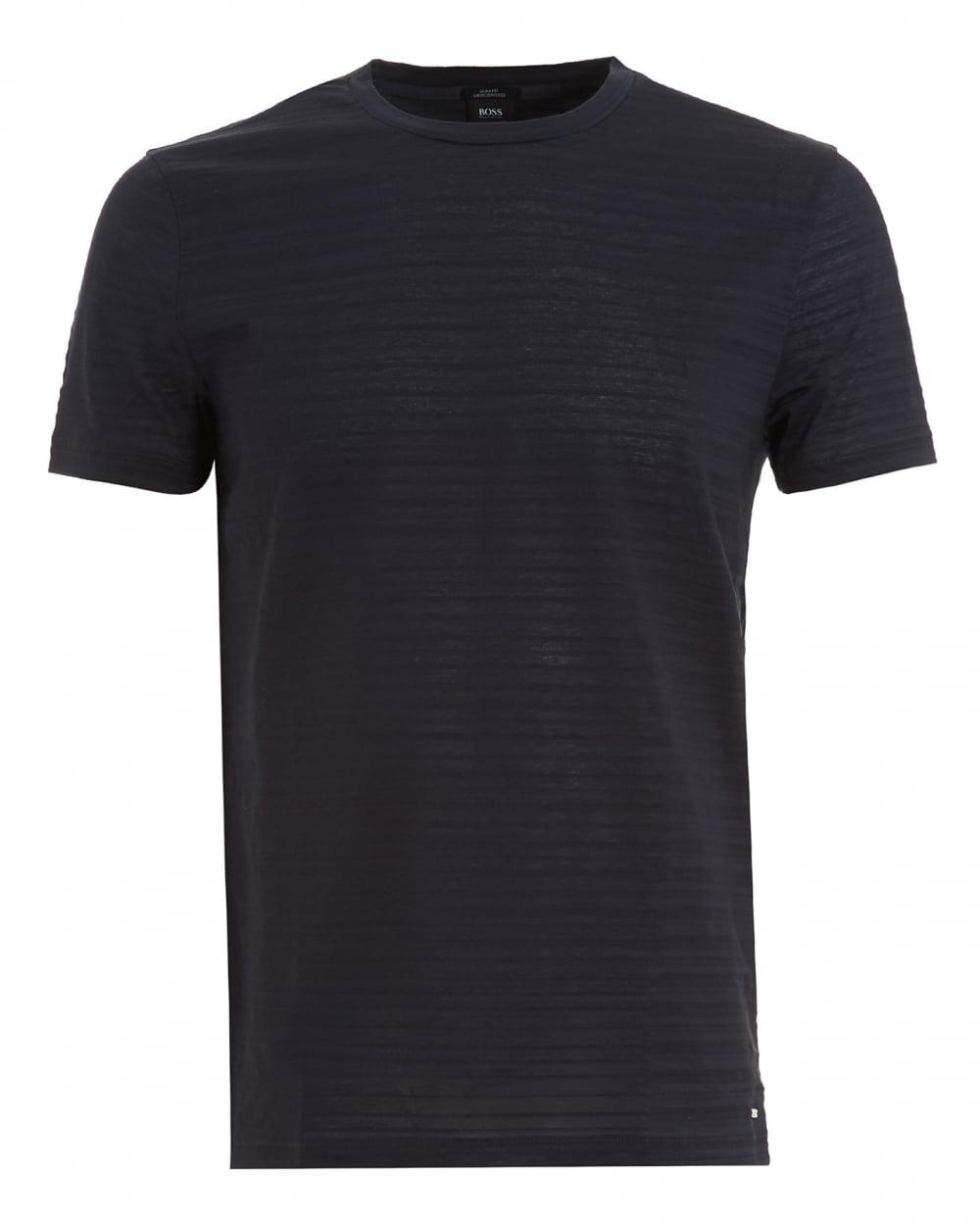 Hugo boss black mens tessler 42 t shirt navy blue tonal for Boss mens t shirts