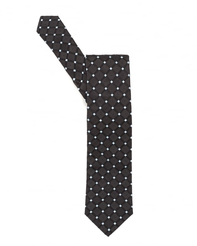 Hugo Boss Black Mens Tie, Diamond Square Pattern Charcoal Grey Silk Tie
