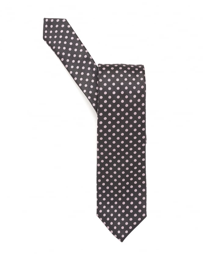 Hugo Boss Black Mens Tie, Medium Dotted Silk Lilac Tie