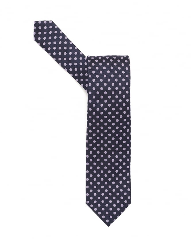 Hugo Boss Black Mens Tie, Medium Dotted Silk Navy Blue Tie