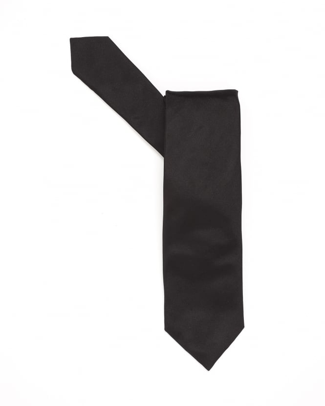 Hugo Boss Black Mens Tie, Pure Silk Black Sheen Tie