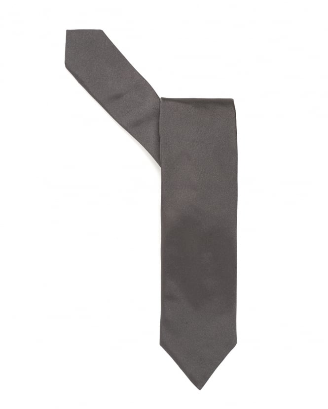Hugo Boss Black Mens Tie, Pure Silk Charcoal Grey Sheen Tie